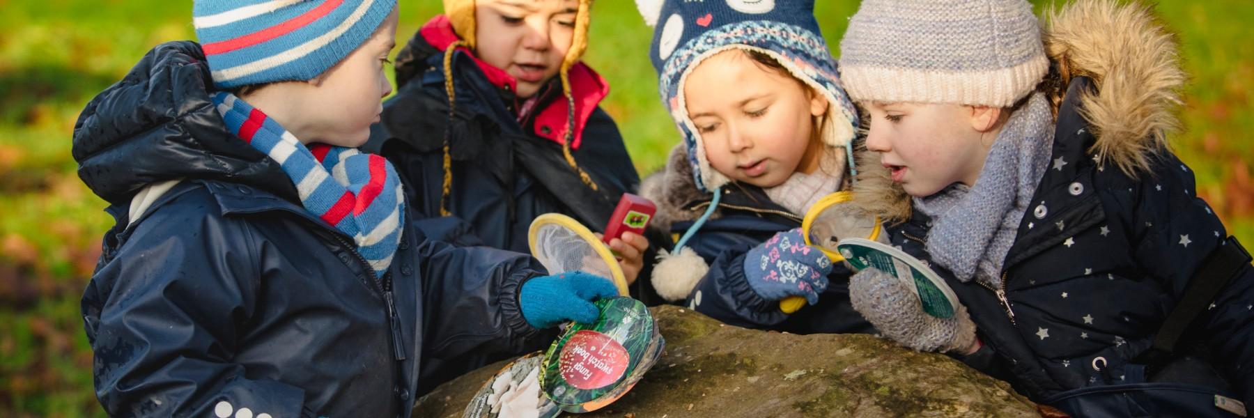 Nursery children in garden